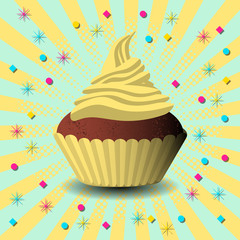International Cake Day. Capcake, dessert, pastries. Pop art style background. Yellow and blue colors.