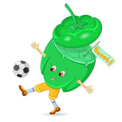 Pepper and soccer ball. Cartoon character. Isolated on white background. Vector illustration.