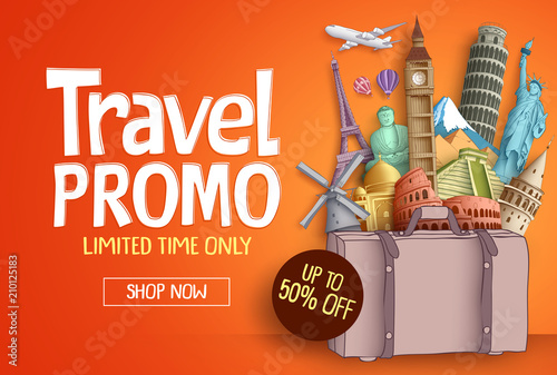 Travel promo vector banner template with world's famous