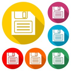 Magnetic floppy disc icon, color icon with long shadow