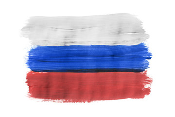 Painted Russian flag isolated