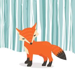 Cute fox cartoon Fox flat style withWinter background