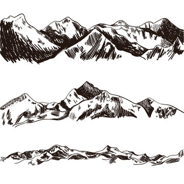 Vector Mountains Sketch, Hand Drawn Illustration, Engraved Hills.