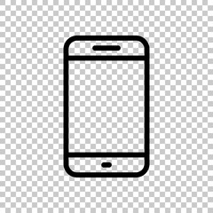 Simple mobile phone icon. Linear symbol, thin outline. On transp