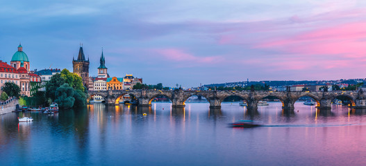 Purple sunset over Charles Bridge, Prague, Famous iconic panorama