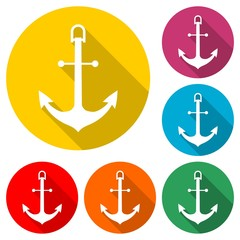Ship anchor or boat anchor flat icon, color icon with long shadow