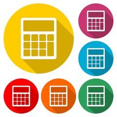 Calculator icon, color icon with long shadow