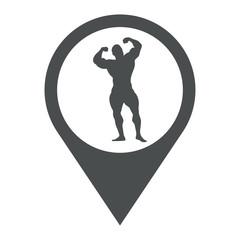 Icono plano localizacion silueta culturista gris