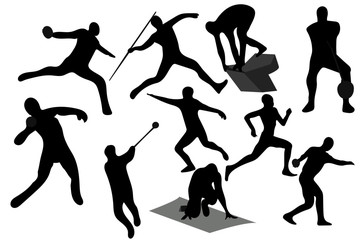 vector illustration athletics silhouette in black color on white background