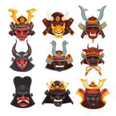 Ancient Samurai warrior war masks set, symbols of traditional Japanese culture vector Illustration on a white background