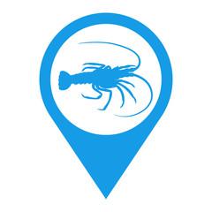 Icono plano localizacion silueta langosta azul