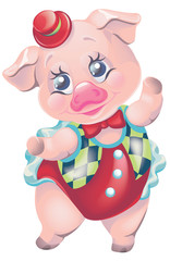 vector clipart cartoon pig in carnival circus suit