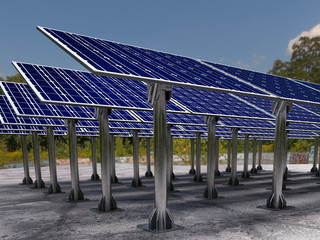 Solar farm with solar panels