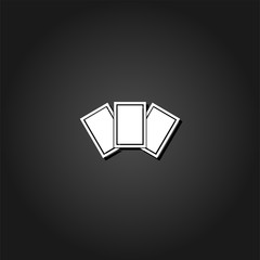 Photo card icon flat. Simple White pictogram on black background with shadow. Vector illustration symbol