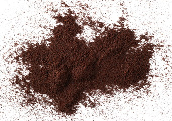 Pile of powdered, instant coffee for espresso isolated on white background, top view