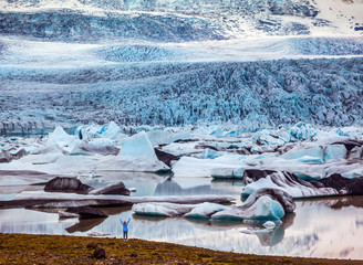 Poster Glaciers The sunset glacier Vatnajokull