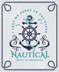 Nautical poster with anchor, steering wheel and rope frame.
