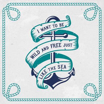 Sea emblem with anchor and ribbon. Vector illustration.