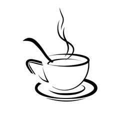 Vector illustration of drawing a cup with coffee, and a coffee spoon