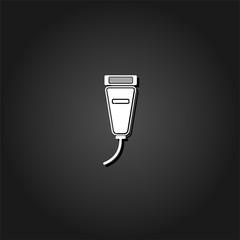 Pet shaving machine icon flat. Simple White pictogram on black background with shadow. Vector illustration symbol