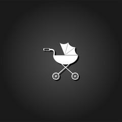 Pram icon flat. Simple White pictogram on black background with shadow. Vector illustration symbol