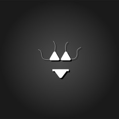 Swimsuit icon flat. Simple White pictogram on black background with shadow. Vector illustration symbol