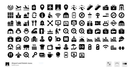 Airport travel and accommodation icons