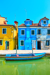 Wall Mural - Colorful houses by canal in Burano