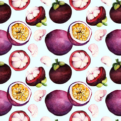 passion fruit. mangosteen. Hand drawn on white background. watercolor  illustration tropical fruit,seamless pattern
