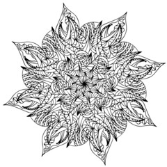 Black mandala flower isolated on white background, vector