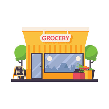 Grocery shop store front isolated on white background