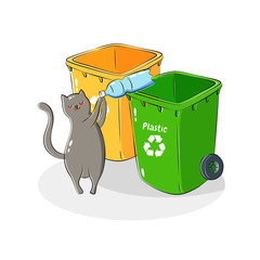 Vector illustration. Recycling garbage. Sorting and processing of garbage. Utilize waste. Trash bags bins cans. Cartoon doodle illustration for children