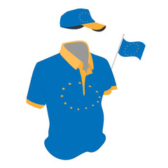 travel clothes set: t-shirt, baseball cap and shorts in Europa Union flag colors. vector drawing illustration