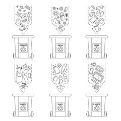Vector illustration, set of flat logo symbols. Recycling garbage elements. Sorting and processing of garbage. Utilize waste. Trash bags bins cans