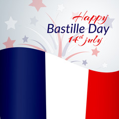 The national flag of France Blue white and red stripes grunge texture Happy Bastille Day 14 july Patriotic background with firework of color of the flag of France on Day of the Bastille Vector