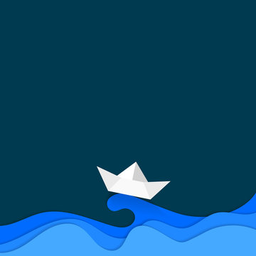 Paper carve cut art of boat sailing in blue wave. Modern origami design background. Travel, relaxation concept 3d paper layers for greeting card, banners, business presentations, flyers, posters