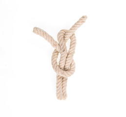 sea rope knot on white isolated background