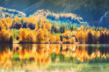 Colorful autumn trees and their reflections on the lake