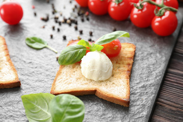 Toasted bread with cheese and tomatoes on slate plate