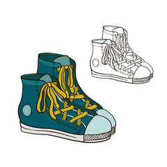 Drawing sneakers.