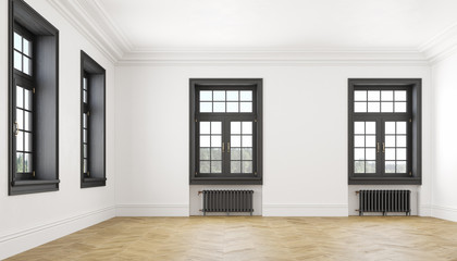 Classic scandinavian white empty interior with windows, parquet and heating batteries. Big room.