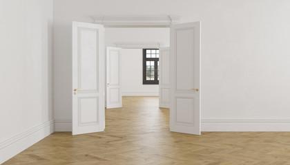 Classic scandinavian white empty interior with open doors, parquet and window.