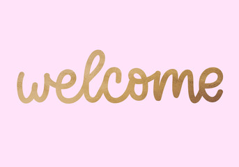 Welcome hand lettering, digital brush calligraphy, with golden glitter effect, isolated on white background. Vector illustration. Can be used for card design. Pink background.