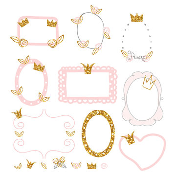 Set of cute princess photo frames with gold glitter elements. Vector hand drawn illustration.