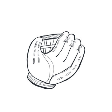 Hand drawn baseball glove sketch isolated on white background. Vector illustration.