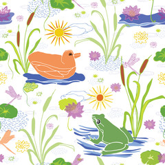 Vector green frog on lily pad & duck swimming on the pond water among the reed grass & bulrushes , delightful animal illustration suitable for kids rooms, nursery fabric, stationery & baby wallpaper