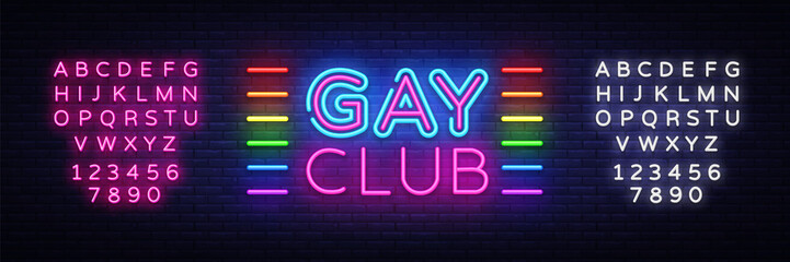 Gay club neon sign vector. Gay Club design template neon sign, light banner, neon signboard, nightly bright advertising, light inscription. Vector illustration. Editing text neon sign