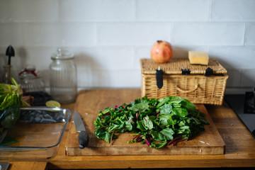 cutting green potherbs