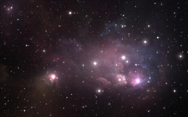 Starry night sky space background with nebula, 3D illustration