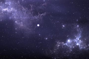 Starry night sky space background with nebula